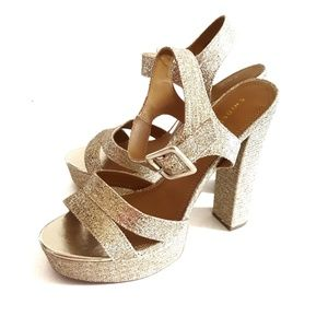 Chinese Laundry Gold Glitter Strappy Heels